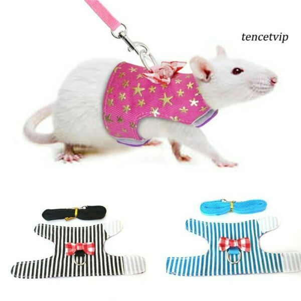 Small Pet Hamster robo robos Bowtie Striped Star Harness Vest Leash Traction Rope bow tie XS
