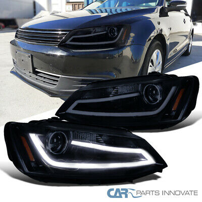 Glossy Black Fit 11-14 Jetta LED DRL Projector Headlights Head Lamps Left+Right