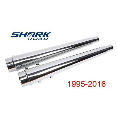 Classic Chrome Megaphone Slip On Mufflers Exhaust for Harley Touring 1995-2016