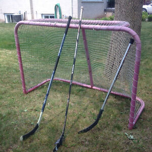 NHL Size Hokey Goalie Metal Frame with Net - great condition