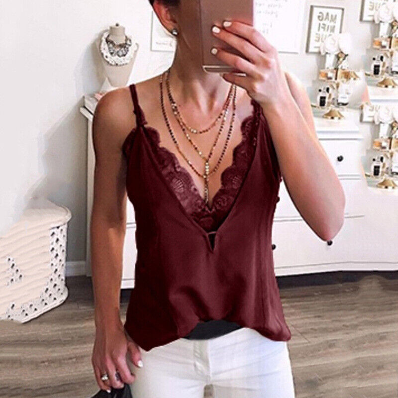 Women Lace Vest Sleeveless Loose Camisole Casual VNeck Tank TShirt Tops Blouse