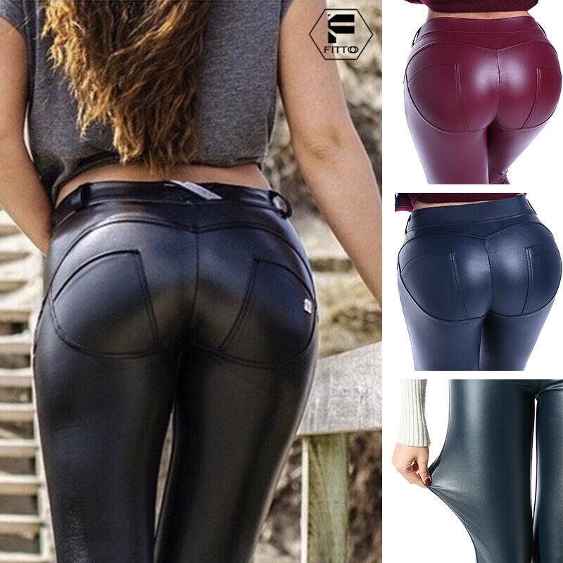 Womens High Waist Yoga Pants PU Butt Lift Workout Leather Sport Fitness Leggings