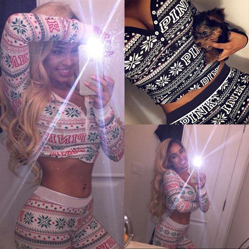 New Women Christmas Print Tracksuit Sleepwear Nightwear Pajamas Suit Sets