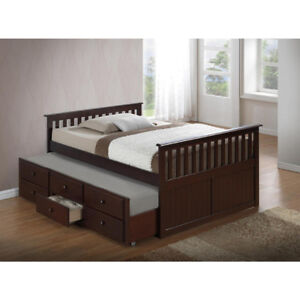 BRAND NEW DOUBLE MATES BEDS WITH TRUNDLE & 3 DRAWERS - COME SEE