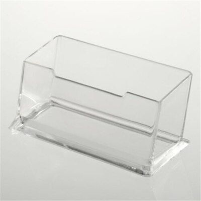 Plastic Clear Desktop Business Card Holder Display Stand Desk Shelf Useful Tool