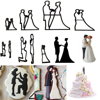 9Pcs/Set Bride & Groom Silhouette Cookie Cutter Wedding Cake Fondant Mold Tools