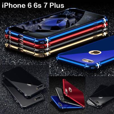 Aluminum Metal Frame Bumper Armor Tempered Protector Case iPhone XS XR 6S 7 (Aluminum Protector Case)