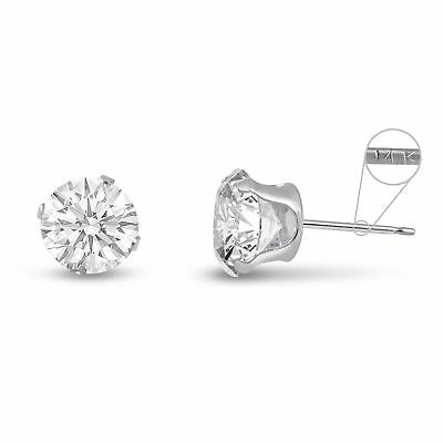 Solid 14K White Gold Round Genuine White Topaz April Stud Earrings Size - 14k Genuine White Topaz Earrings