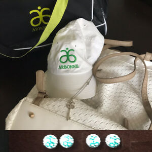 Arbonne bags, earrings and ballcap