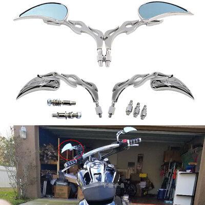 Teardrop Custom Side Rear Motorcycle Mirrors Chrome 8mm-10mm For Harley Cruiser