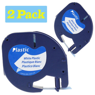 Compatible Dymo Letratag Refill 91331 Black On White Plastic Label Tape 12mm 2pk