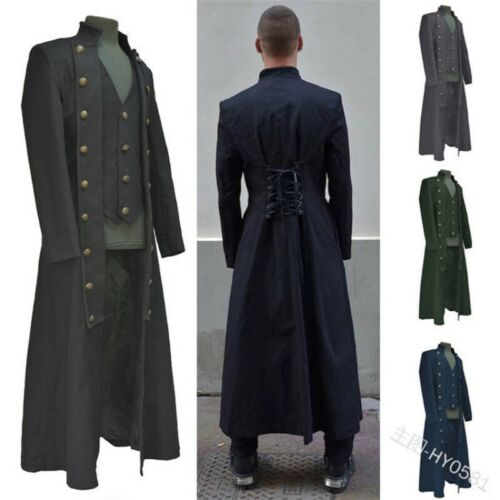 Steampunk Mens Jacket Outwear Coat Military Gothic Coat Victorian Trench
