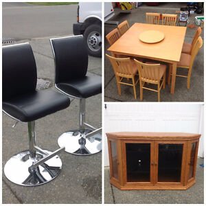 Used Furniture (Kitchen Table, Leather Bar Stools, TV Stand)