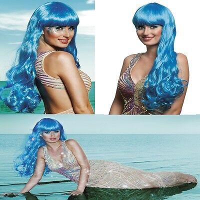 Lange Haare Junge Kostüme (Langhaar Perücke Meerjungfrau eisblau Kostüm Nixe Show Phantasie Glamour  #755)
