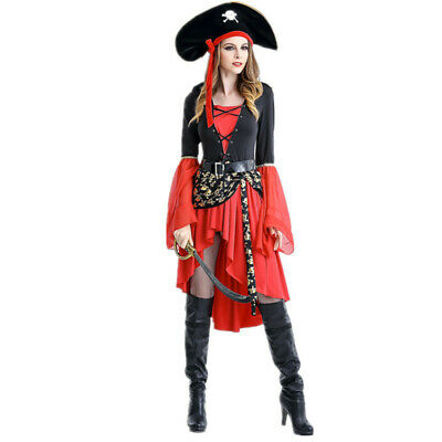 Women Pirate Halloween (Adult Women's Medieval Pirate Wench Vixen Halloween Costume Cosplay Dress)