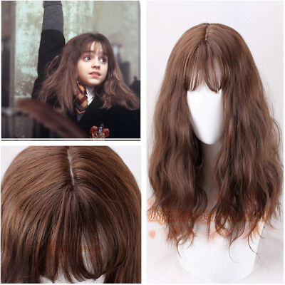 Movie Harry Potter Hermione Brown Long Curly Fluffy Cosplay Wigs +wig - Movie Wigs