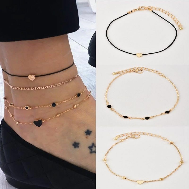 4Pcs Women's Jewelry Gold Plated Heart Beads Ankle Chain Foo