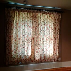 Floral lined curtains