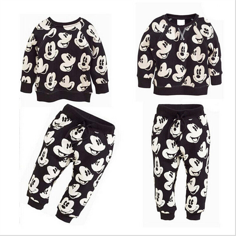 a542f57f1 2Pcs Kids Toddler Baby Boys Clothing Mickey Mouse Sport Tracksuits Outfits  & Set
