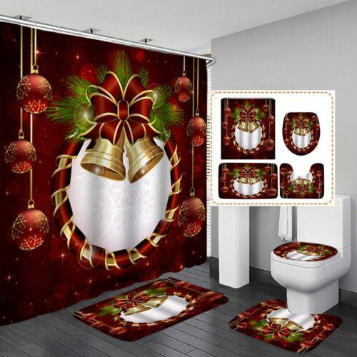 Christmas Serie Printing Bathroom Shower Curtain Toilet Waterproof Cover Mat