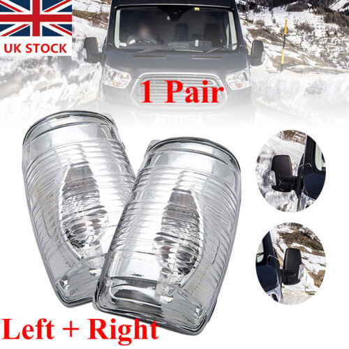 Car Parts - For Ford Transit Mk8 Wing Mirror Indicator Lens Cover Clear LEFT&RIGHT Together