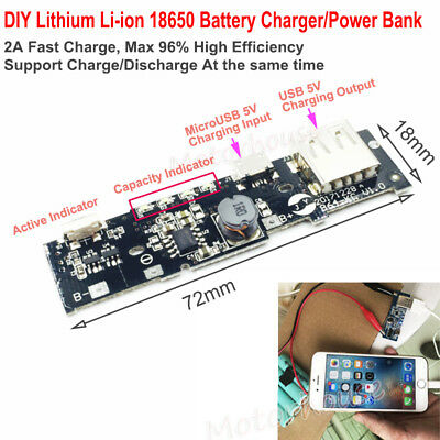 5v 2a Usb Li-ion Lithium 18650 Battery Fast Charger Discharge Module Power Bank