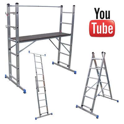 Multi Purpose Platform and Scaffold Combination Ladder, 5 Way Work Platform Step