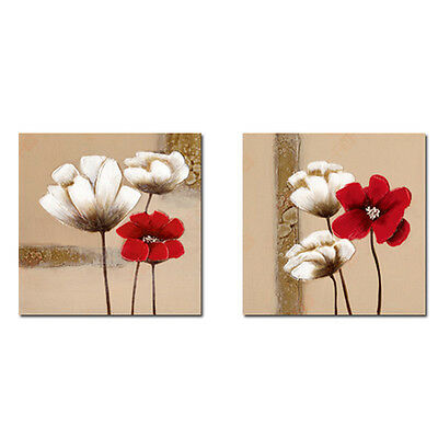 Painting Picture Canvas Print Wall Art Home Decor Abstract Flowers Framed 24x24""
