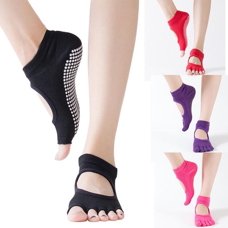 Women Yoga Socks Non Slip Half 5 Toes Pilates Massage Socks