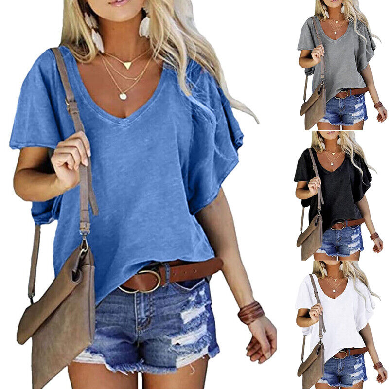 Womens Summer Casual V Neck Short Sleeve Solid T Shirt Loose Tunic Blouse Tops
