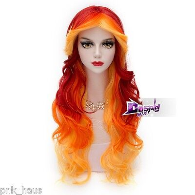75cm Cosplay Perücke Wig Mädchen für Karneval Lockig Rot&Orange&Gelb Damen