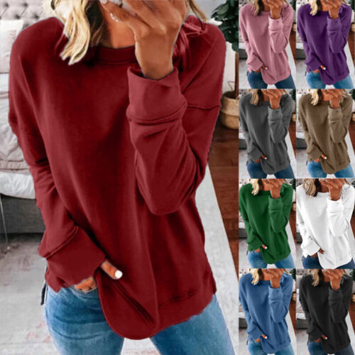 Women Casual Long Sleeve T Shirt Blouse Loose Pullover Tunic