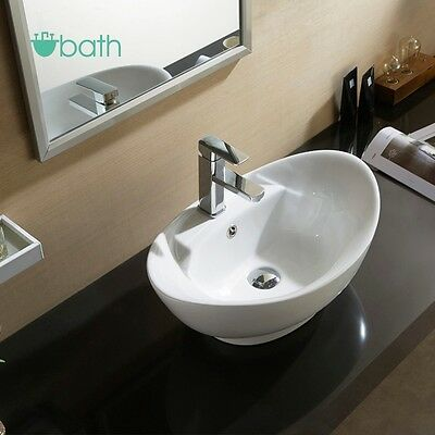 Bathroom Oval Vessel Sink Vanity Countertop Basin White Porcelain Ceramic Bowl