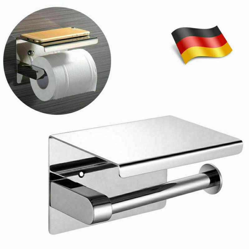 DHL Edelstahl Toilettenpapierhalter Klopapierhalter mit Regal 2in1 für Handy NEU