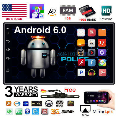 "US Quad Core Android 6.0 3G WIFI 7"" Double 2DIN Car Radio Stereo MP5 Player GPS"