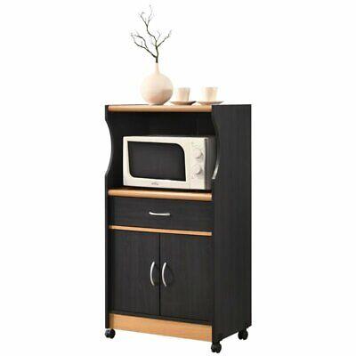 Beech Kitchen Kitchen Cart (Pemberly Row Microwave Kitchen Cart in Black Beech )