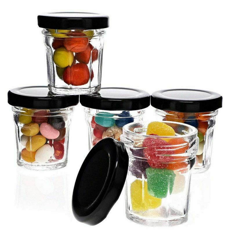 48x Mini Glass Jars with Black Metal Lids for Party Favors, Spices, Crafts, 1oz