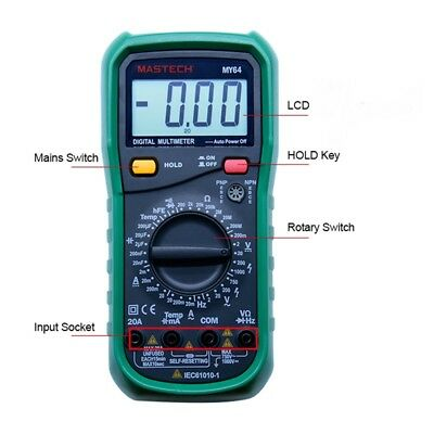 Mastech My64 Multimeter Digital Multitester Auto Range Capacitance Tester