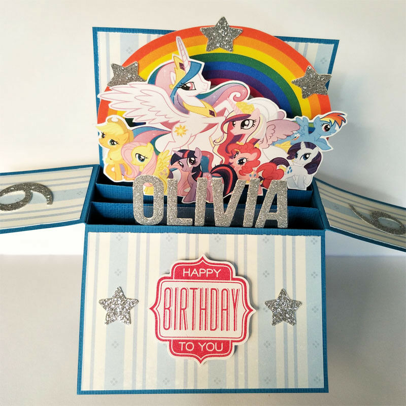 handmade birthday card, my little pony birthday card, Name & age Personalised