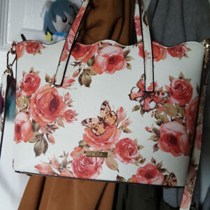 Pink and White Floral Aldo Purse