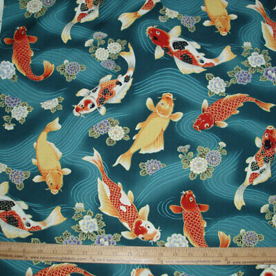 Asian inspired Stunning KOI fish swimming on Jade  Sold by the yard