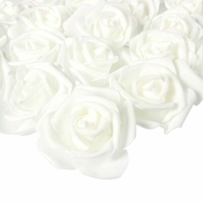 100-Pack White Rose Artificial Flower Heads for Wedding Party Home Decorations