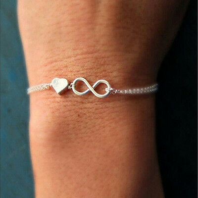 Bangle Silver Designer Bracelets - Gold Silver Lucky Number 8 Designed Love Heart Chain Bracelet Bangle Jewelry XR