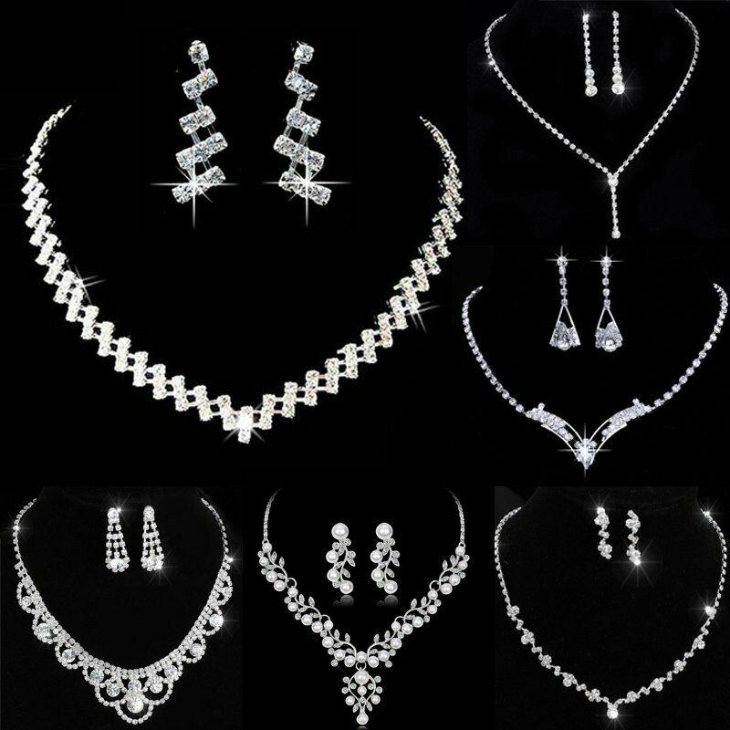 Chic Wedding Bridal Crystal Rhinestone Women Necklace Earrin