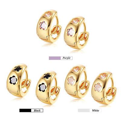 Childrens Kids Baby Girls Safety Crystal Flower Hoop Earrings 14k Gold Filled