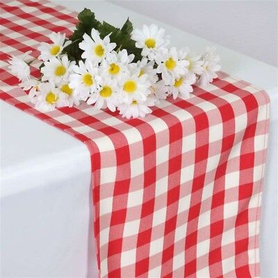 Red CHECKERED Gingham Polyester TABLE RUNNER 14 x 108