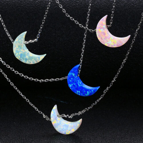925 Silver Plated Blue Fire Opal Gemstone Moon Pendant Necklace Wholesale