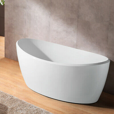 "Modern 67"" White Oval Freestanding Soaking Bathtub Acrylic Drain & Overflow cUPC"