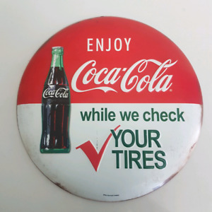 Coca Cola button While We Check Your Tires Gas Service Station