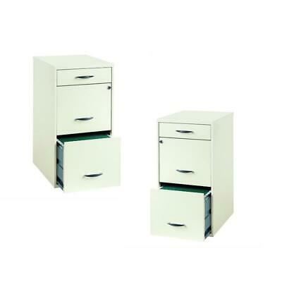 Value Pack Set Of 2 3 Drawer Steel File Cabinet In White